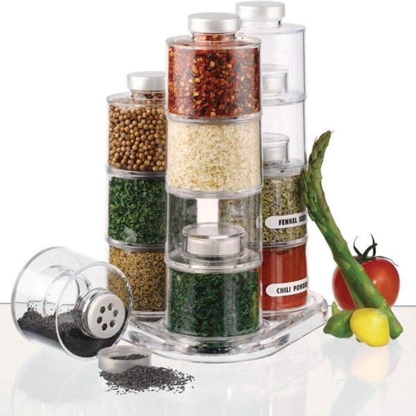 Porta Condimento Tempero Torre Extensível Gourmet - 06 Potes