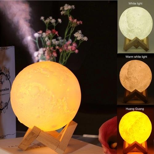 Umidificador Aromatizador Luminária Abajur Lua Cheia 3D - 880ml